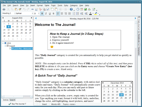 The Journal screen shot