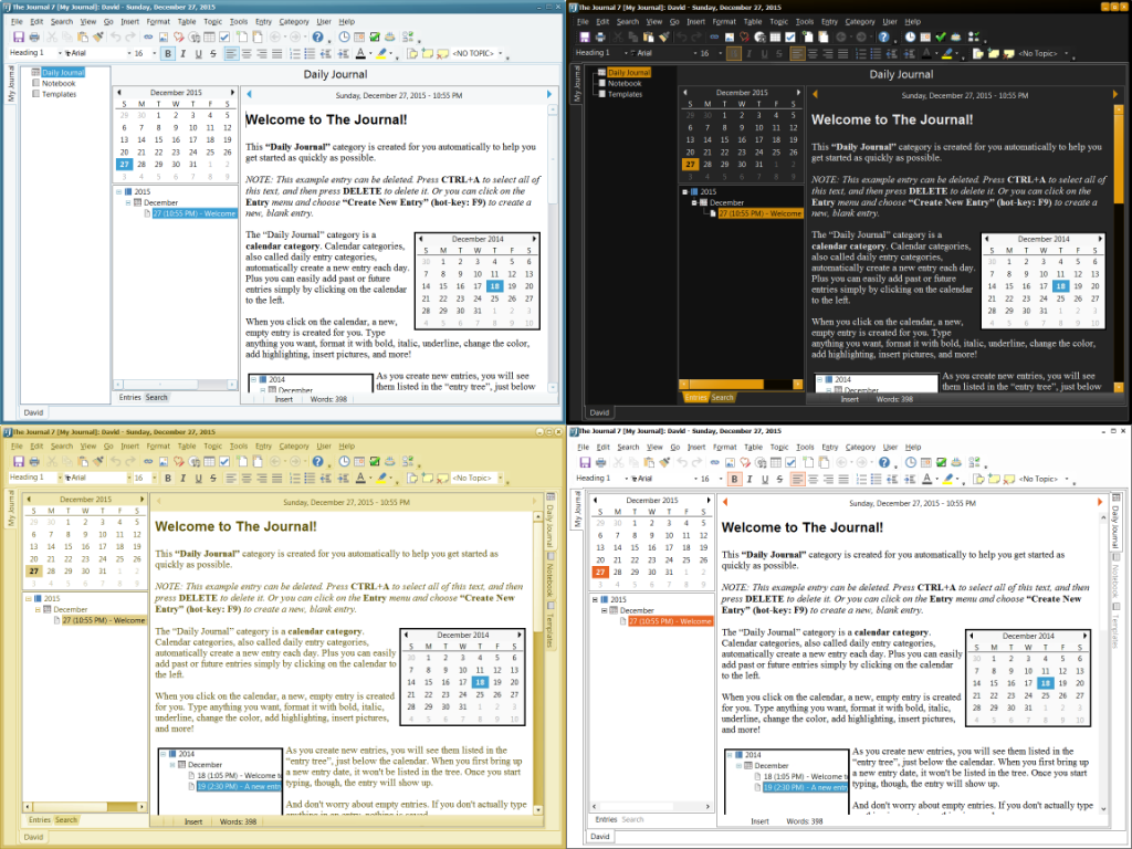 A sample of The Journal's available themes, and layouts.